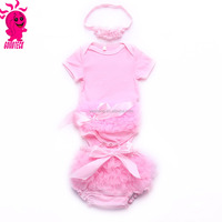 Wholesale Girls Rompers baby bloomers Headband 3pcs Clothing Sets Baby Suits infant rompers sets clothing underwear