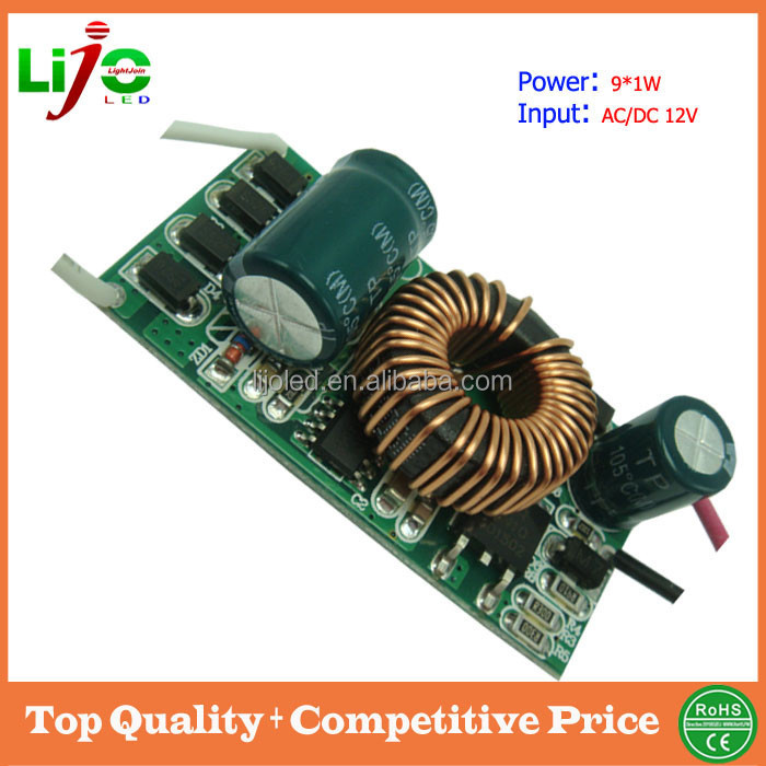 High quality low voltage 12v 9*1w 300ma constant current built-in ic led driver for led solar bulb light power supply