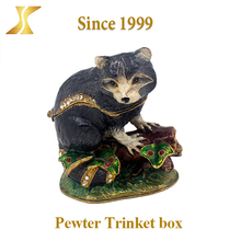 Cute design Docile Wolf Shaped Animal Trinket Box, metal necklace jewelry box