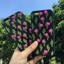 For iPhone 7 6s Cactus Diamond UV Printing Silicone Rubber Cell Phone Cases