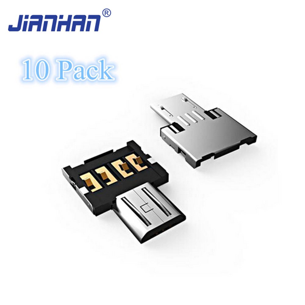 10 Pack Mini Mirco USB to USB OTG Adapter Converter for Phone Tablet Flash Disk U Disk Mouse Keyboard