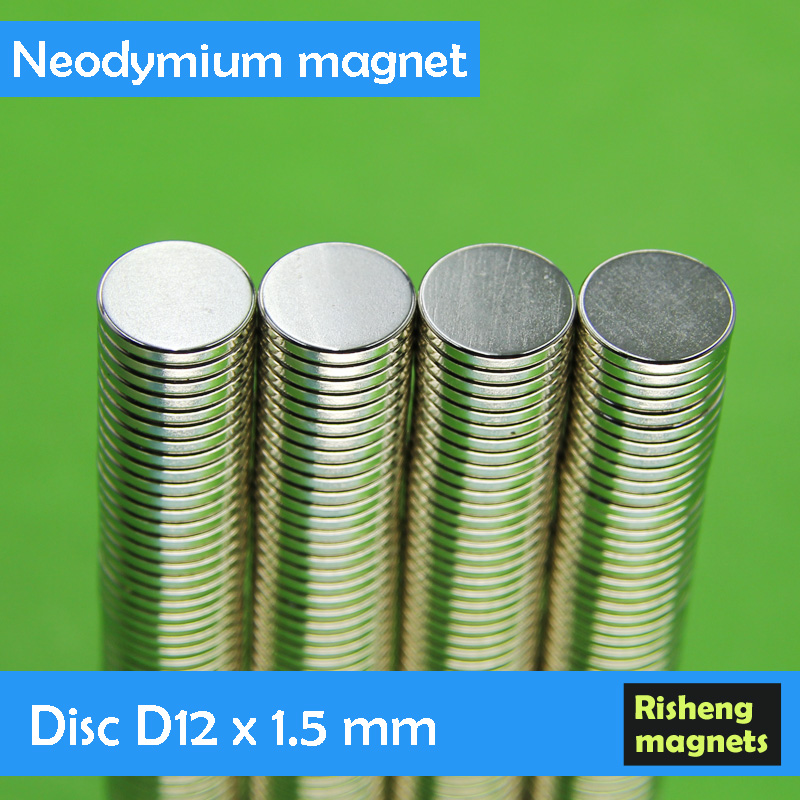 Strong sintered NdFeB magnet D12x1.5mm disc