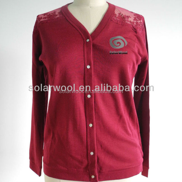 100% Merino Pure Wool Women Washable Cardigan Sweaters