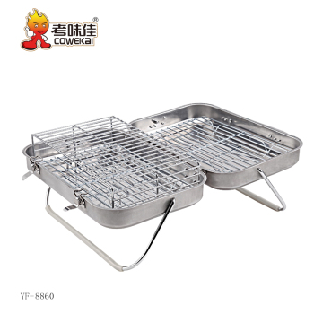 Table top stainless steel folding charcoal bbq grill