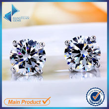 round shaped gemstone cubic zirconia single stone woman daily wear earring designs