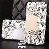 For iPhone 5s Luxury Case,Deluxe Cell Phone Clear Hard Crystal Bling Gemstone Jewelry Diamond Case for iPhone 5