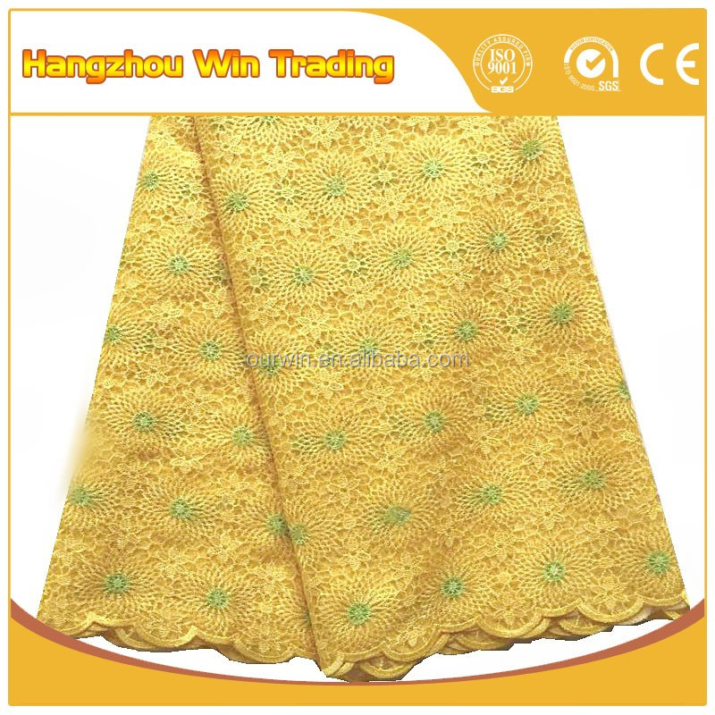 Beautiful yellow embroidery korean african laces fabrics for party dresses 2016