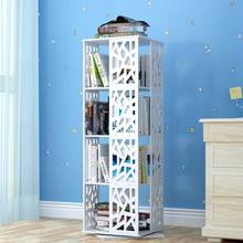 Hot sale WPC material 4 tiers rotary book shelf