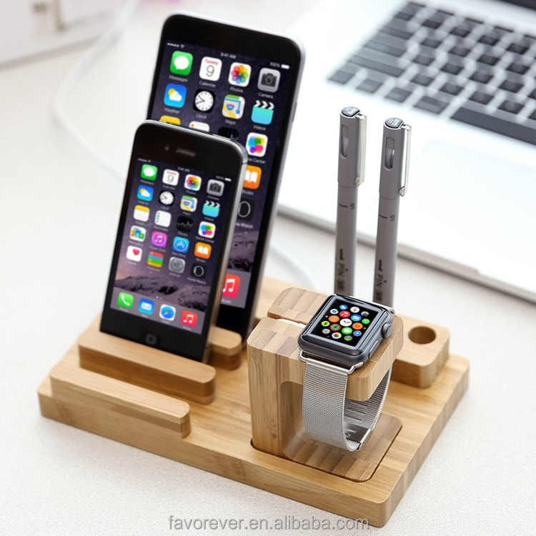 wood electronics usb dock charging station for mobile phone/ tablet/ pen/ smart watch