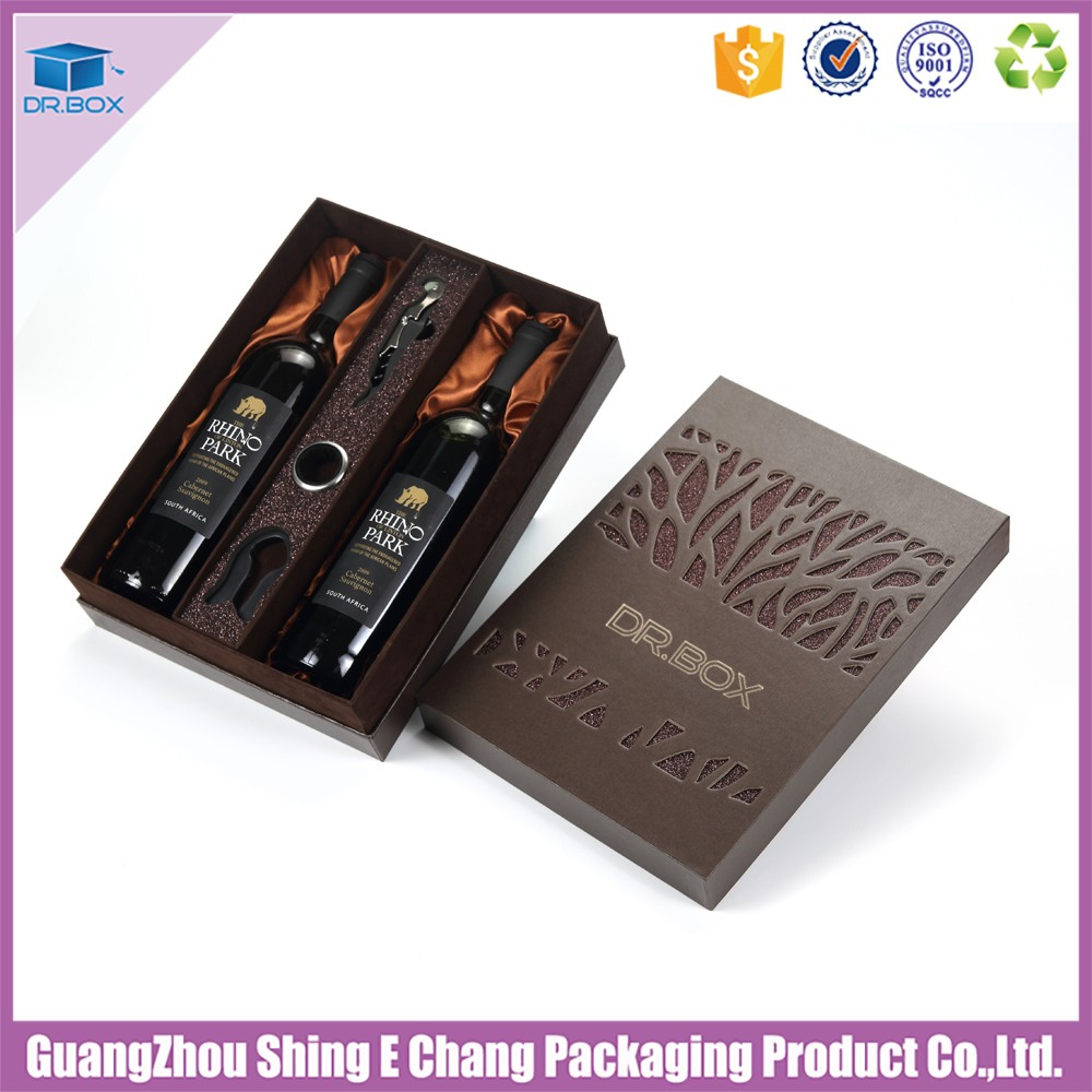 2016 hot sale luxury paper wine box packaging/cardboard hollow out red wine box