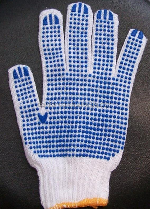 best selling 7 gauge 10 gauge white poly cotton gloves for industrial use PVC dotted glove