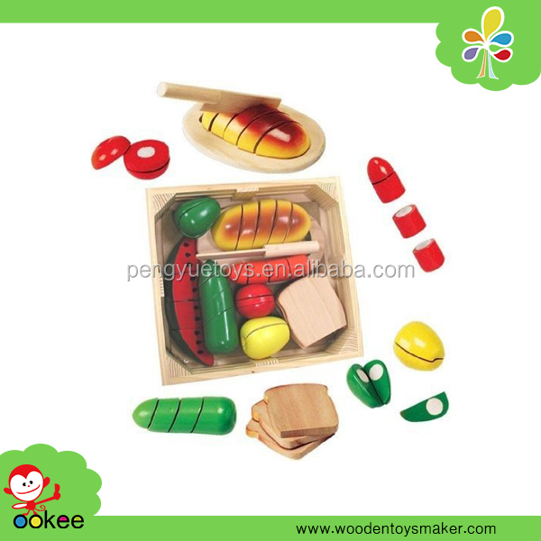 Hot Sale Cutting Food Play Set, Kids Wooden Toy Kitchen Set