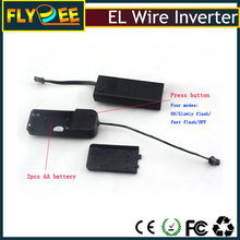 EL product factory portable cheap 3V Battery flash EL wire power inverter ,2pcs AA battery EL tape driver