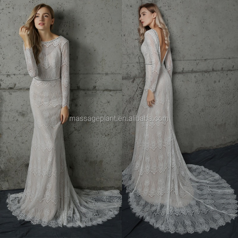 Long Sleeve Vintage Wedding Dress Bridal Gown Off White Simple ...