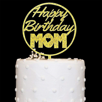 Happy Birthday MOM DAD Acrylic Cake Topper For Mother Father Party Decorations Supplies