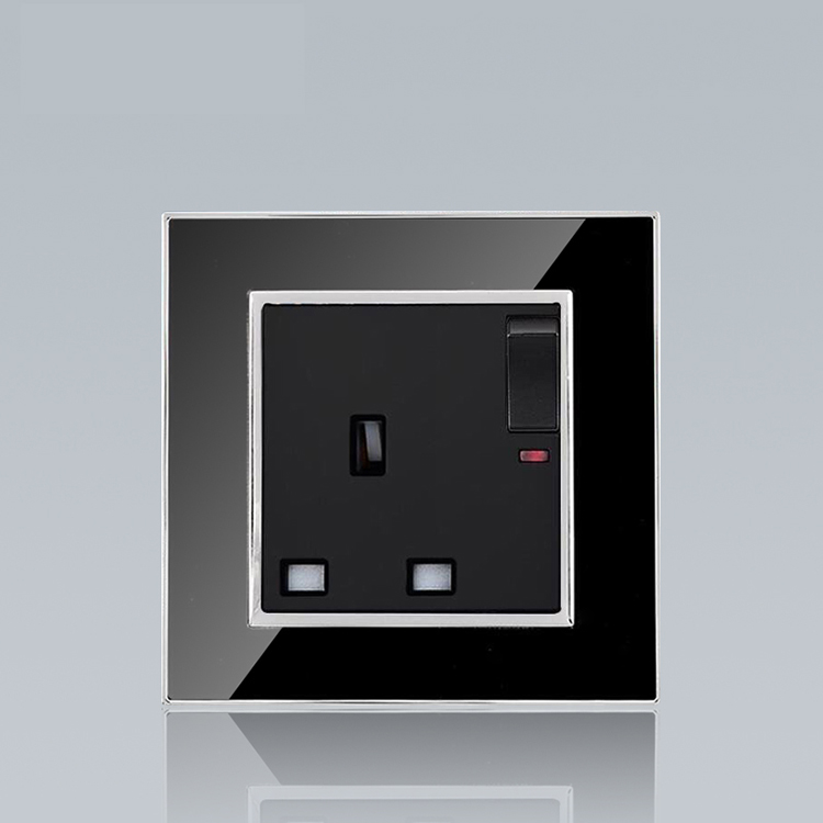 High quality stainless UK electric wall socket and switch single 13A wall electric