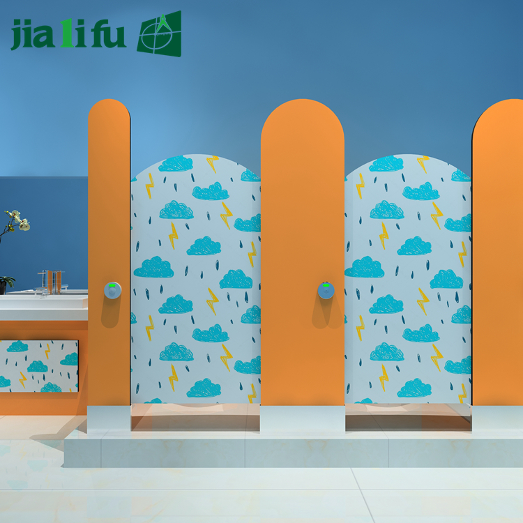 Water resistant children nursery toilet cubicle partition