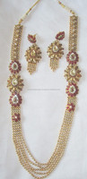 GOLD plated polki Kundan long necklace EARRING Set