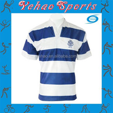 Manufacturer polo shirt blue and white stripe