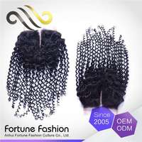 General Superior Quality No Shedding No Tangle Blonde Russian Cheap Invisible Part Curly Lace Closure