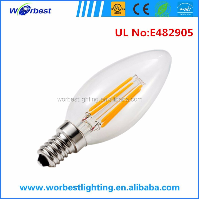 C35 LED filament bulb 2W 4W 6W candle decorative lamp warm white UL listed led filament bulb for American