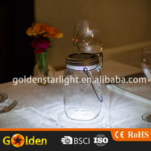 Solar Jar Popular Warm White Clean Glass 4led Bottle Lights