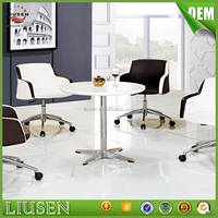 2016 top design MDF wooden small round white meeting room office table