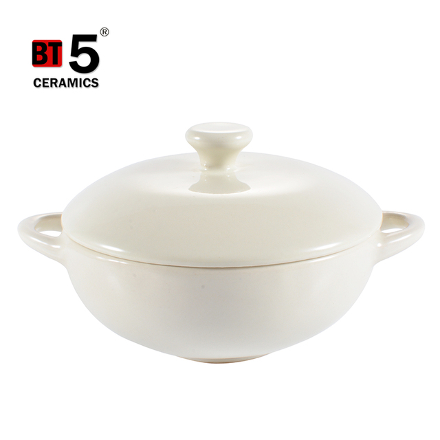 Wholesale durable double handle safety ceramic hot pot casserole set with lid