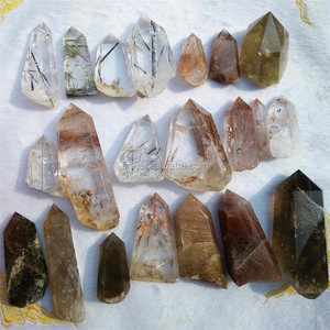 The latest beautiful natural gold rough quartz price hair Reki crystal point for sale