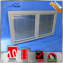 Australia AS2047 standard silver color double glass aluminium fixed window with blinds inside