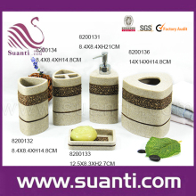 Chinese factory wholesale Suanti Chrismas 5pcs polystone bathroom accessories sets