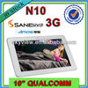 10 Inch Tablet PC 3G Sim Card Slot Android 4.1 Sanei N10 Quad Core IPS Screen+ Phone Call+ GPS +Bluetooth
