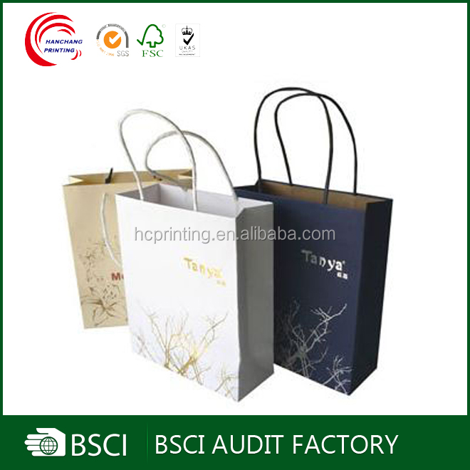 Top supplier machine made kraft paper bag with glued twisted handles
