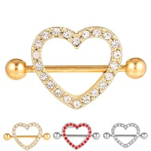 Custom Made Gold Crystal Heart Shaped Personalized Girl Indian Nipple Stretching Shiled Piercing Jewelry