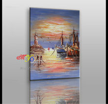 Beautiful handmade seaside scenery berthed boat oil painting on canvas