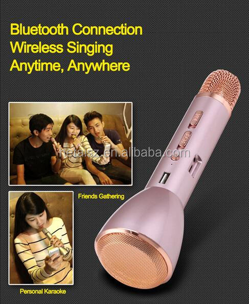 Universal Bluetooth Wireless Speaker Microphone 2 in 1 Handheld Karaoke Microphone for iphone Android Smartphone Music Playing