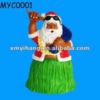Hawaiian christmas hula santa clause figurines