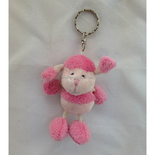 Small mini size cute stuffed plush pink sheep keychain toy