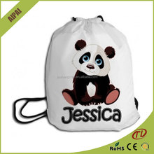 hot sale and lovely cantoon design polyester draw string bag