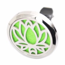 316 Stainless Steel Lotus Car Aroma Locket Essential Oil Car Clip Diffuser Free Pads Silver Diffuser Jewelry 38mm