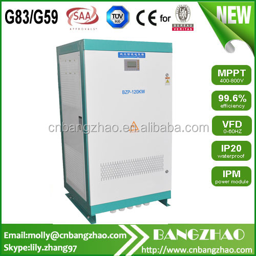 100% full power output 120kw 3 phase 415V inverter with low frequency transformer