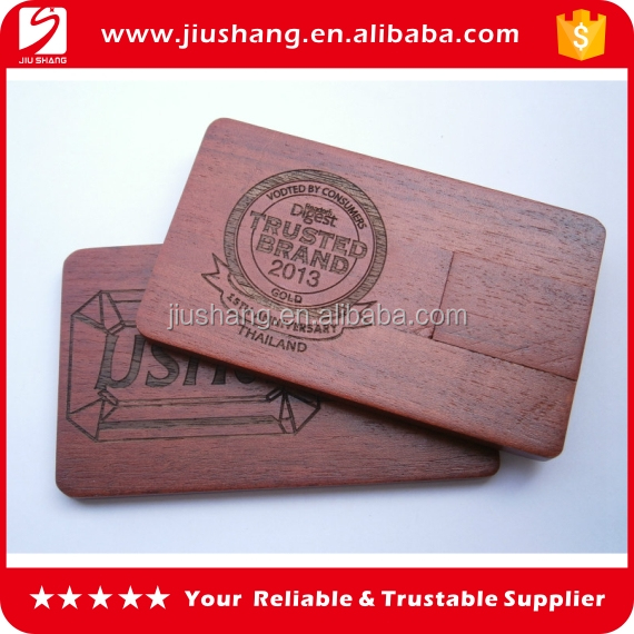 Wooden business card usb flash drive with debossed logo