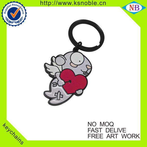sweet red heart shape souvenir metal keychain