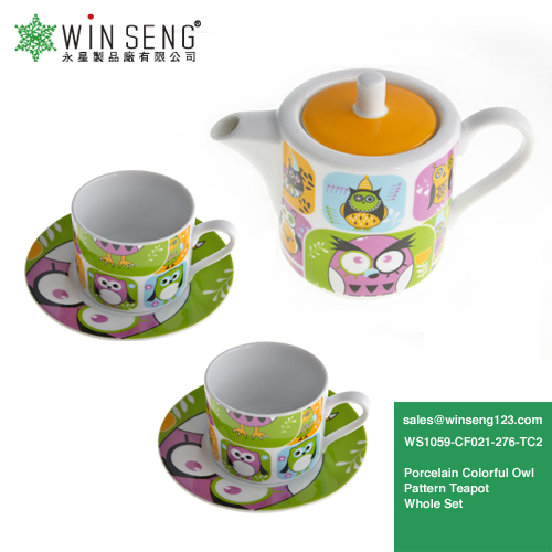 Wholesale High Quality Porcelain Colorful Owl Pattern Teapot Whole Set WS1059-CF021-276-TC2