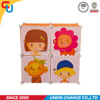 Colorful 4 grids cartoon design DIY plastic wardrobe for shoes