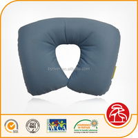 cheap wholesale PVC inflatable beach/jumping/water/travel neck pillow with fabric cover