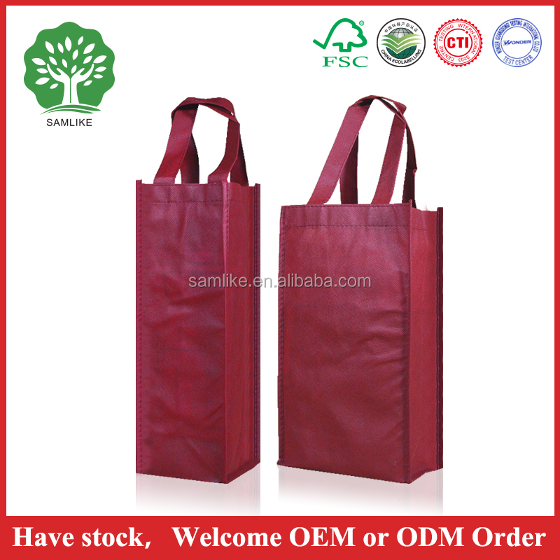 2015 Hot Sale customized cardboard LOGO printed colorful luxury non woven wine fabric bag new design