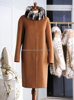 Camel Long Women Wool and Cashmere Coat