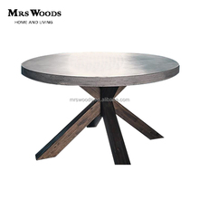 round wood base concrete dining table