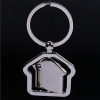 Wholesale Small Metal House Shaped Keychain Rotatable Key chain